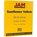 JAM Paper® Matte Cardstock, 8.5 x 11, 80lb Sunflower Yellow, 50/pack (16729203)