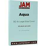 JAM Paper® Matte Legal Cardstock, 8.5 x 14, 80lb Aqua Blue, 50/pack (16729312)