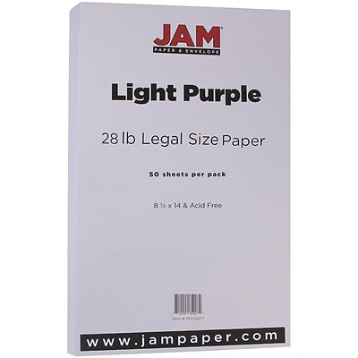 JAM Paper® Matte Legal Paper - 8/5 x 14 - 28lb Light Purple - 50/pack