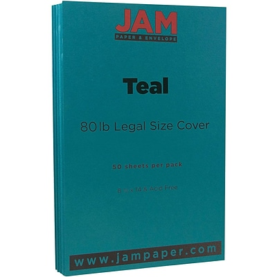 JAM Paper® Matte Legal Cardstock, 8.5 x 14, 80lb Teal Blue, 50/pack (16729449)