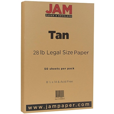 JAM Paper® Matte Legal Paper - 8/5 x 14 - 28lb Tan - 50/pack