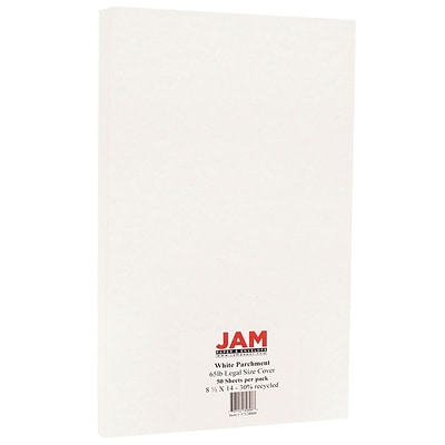 JAM Paper® Parchment Legal Cardstock, 8.5 x 14, 65lb White Recycled, 50/pack (17128860)