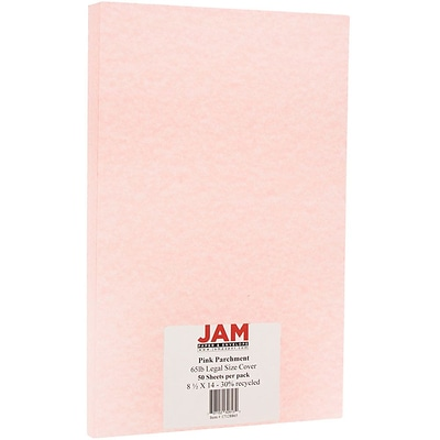 JAM Paper® Parchment Legal Cardstock, 8.5 x 14, 65lb Pink Recycled, 50/pack (17128865)