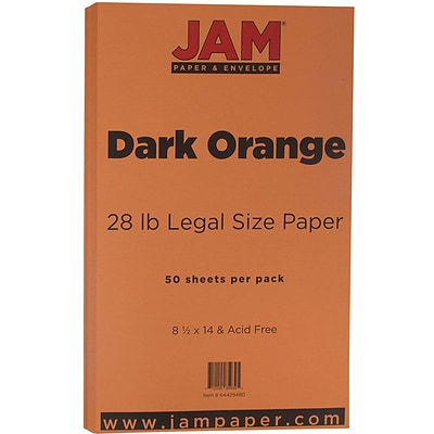JAM Paper® Matte Legal Paper - 8/5 x 14 - 28lb Dark Orange - 50/pack