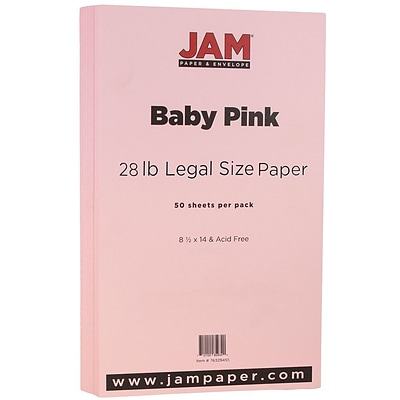 JAM Paper® Matte Legal Paper - 8/5 x 14 - 28lb Baby Pink - 50/pack