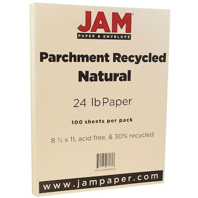 JAM Paper® Parchment 24lb Paper, 8.5 x 11, Natural Recycled, 100 Sheets/Pack (96600600)