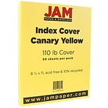 JAM Paper® Vellum Bristol Index Cardstock, 8.5 x 11, 110lb Canary Yellow, 50/pack (816917020)