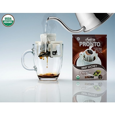 FUERTE® Pronto® Drip Bag Organic Arabica Coffee, French Roast, Pack of 18 (PFR-18)