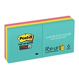 3M™ Post-it® 3 x 3 Super Sticky Pop-up Notes, 90 Sheets/Pad, Miami Collection, 6 Pads/Pack (R330-6