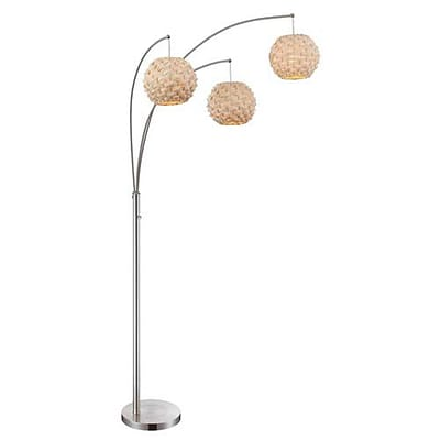 Aurora Lighting 3-Light Incandescent Floor Lamp - Polished Steel (STL-LTR457015)
