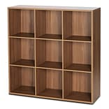 Bestar Clic Furniture 3 Row and 3 Column Thick Framed Open Cabinet 42.74 Cube Unit; Italian Walnut