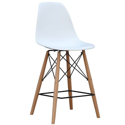 Fine Mod Imports Woodleg Bar Chair, White (FMI10110-30-white)