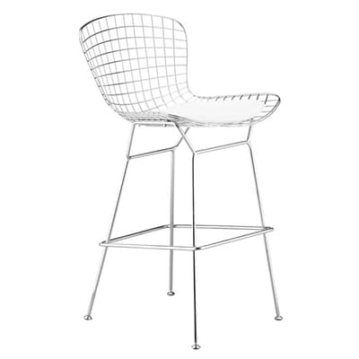 Fine Mod Imports Wire Bar Height Chair, White (FMI1136-white)