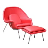 Fine Mod Imports Woom Chair and Ottoman in Leather, Red (FMI10044-red)