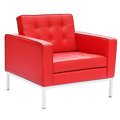Fine Mod Imports Button Arm Chair in Leather, Red (FMI2201-red)