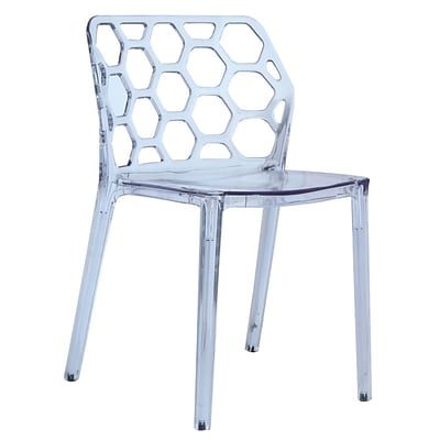 Fine Mod Imports Honeycomb Dining Chair, Clear (FMI10174-clear)