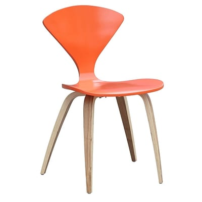 Fine Mod Imports Wooden Side Chair, Orange (FMI10202-orange)