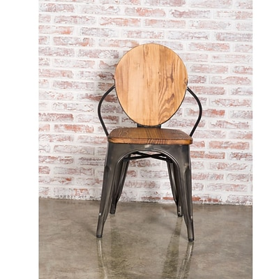 Fine Mod Imports Metal Dining Chair, Walnut (FMI10230-walnut)