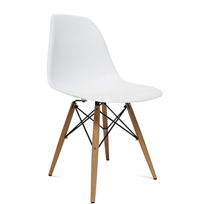 Fine Mod Imports WoodLeg Dining Side Chair, White (FMI2012-white)