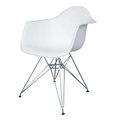 Fine Mod Imports WireLeg Dining Arm Chair, White (FMI4011-white)