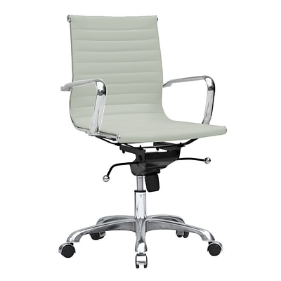 Fine Mod Imports Lider Office Chair Mid Back, White (FMI10060-white)