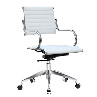 Fine Mod Imports Flees Office Chair Mid Back, White (FMI10209-white)