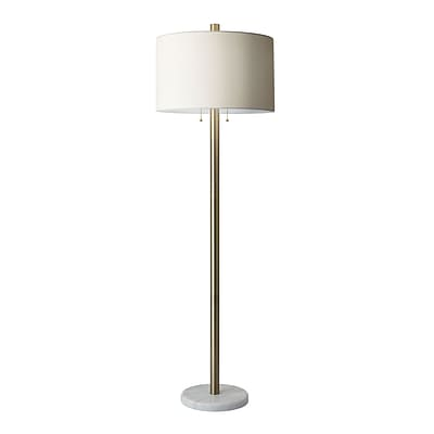Adesso Avenue Floor Lamp, Antique Brass/White (4059-21)