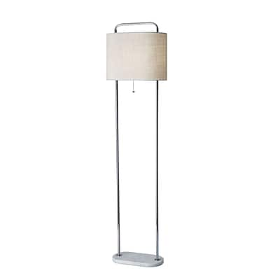 Adesso Avery Floor Lamp, Brushed Steel/White (6442-02)