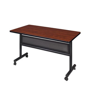 Regency Kobe Flip Top with Modesty Panel 48 x 24 Metal and Wood Training Table, Cherry (MKFTM4824CH)