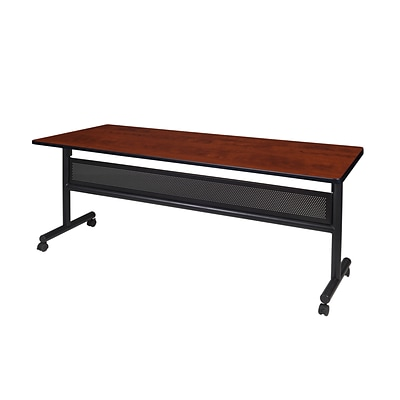 Regency Kobe Flip Top with Modesty Panel 72 x 24 Metal and Wood Training Table, Cherry (MKFTM7224CH)