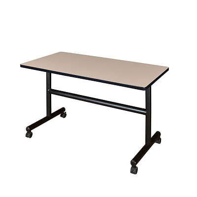 Regency Kobe Flip Top 48 x 30 Metal and Wood Training Table, Beige (MKFT4830BE)
