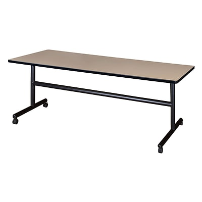 Regency Kobe Flip Top 72 x 30 Metal and Wood Training Table, Beige (MKFT7230BE)