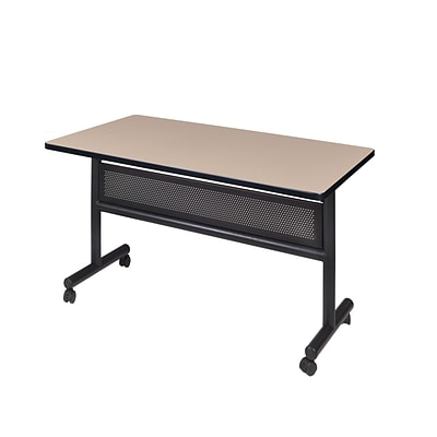 Regency Kobe Flip Top with Modesty Panel 48 x 30 Metal and Wood Training Table, Beige (MKFTM4830BE)