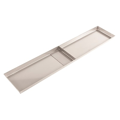 FFR Merchandising Stainless Steel Pan, No Drain Holes, 1 Divider, 8 inch W x 30 inch L x 1 inch D, (9922510328)
