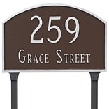 Montague Metal Products Prestige Arch 2 Line Address Plaque; Brick Red/Silver