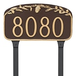 Montague Metal Products Pine Cone Address Plaque; Chocolate/Gold