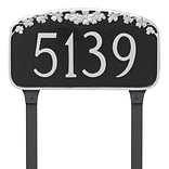 Montague Metal Products Dogwood Address Plaque Sign; Black/White