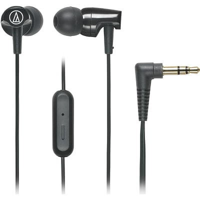 Audio-Technica® SonicFuel® ATH-CLR100is In-Ear Headphone with In-Line Mic and Control, Black