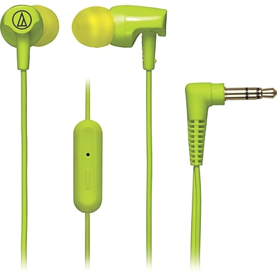 Audio-Technica® SonicFuel® ATH-CLR100is In-Ear Headphone with In-Line Mic and Control, Lime Green
