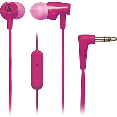 Audio-Technica® SonicFuel® ATH-CLR100is In-Ear Headphone with In-Line Mic and Control, Pink