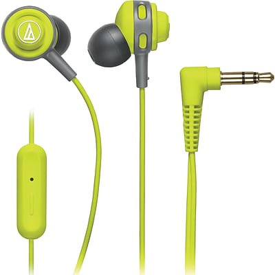 Audio-Technica® SonicSport® ATH-COR150iS In-Ear Headphone with In-Line Mic and Control, Lime Green