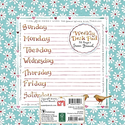 TF Publishing 7.75 x 7.75 Susan Branch Weekly Desk Pad (20-0033)