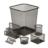 Honey Can Do 6pc Mesh Desk Organization Set, Black (OFC-03491)