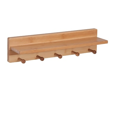 Honey Can Do Wall Shelf with 5 Pegs, Natural (SHF-04400)