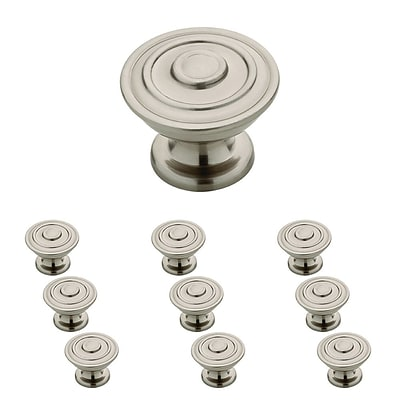 Franklin Brass 1-1/4 Hayes Kitchen Cabinet Hardware Knob, Satin Nickel, 10 Pack (P29525K-SN-B)