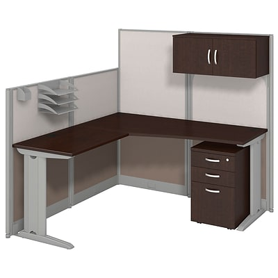 Bush Business Office in an Hour Collection 65x65 L Workstation w/Storage & Accessory Kit-Installed