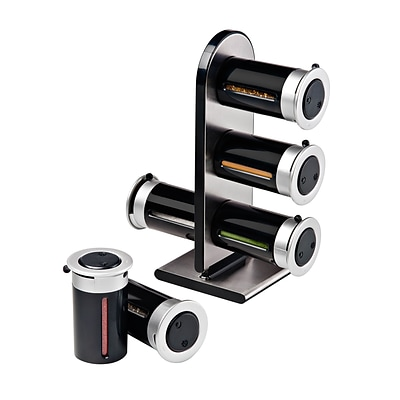 Honey Can Do KCH-06095 Magnetic Spice Stand W/6 Cnstrs-Blk/Slv
