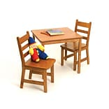 Lipper Childs Square Table & 2 Chairs Set -Pecan (514P)