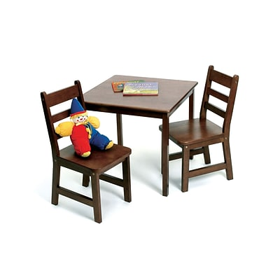 Lipper Childs Square Table & 2 Chairs Set -Walnut (514WN)