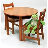 Lipper 29 3/8  Round Wooden Childs Table w/shelf & 2 chairs-Pecan (524P)